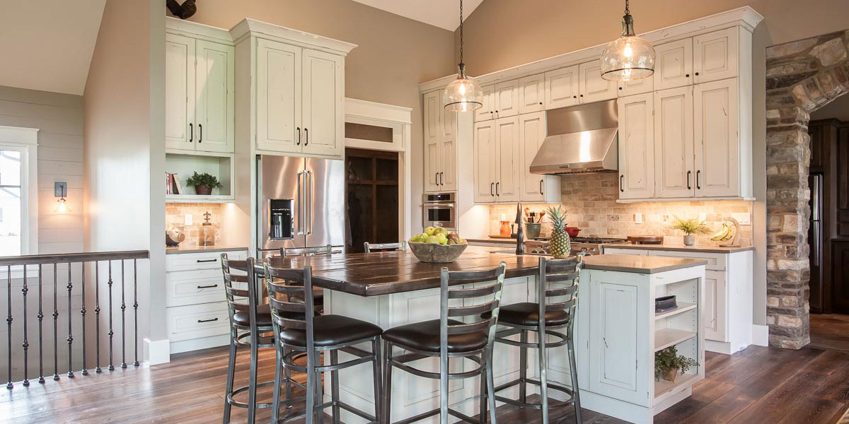 ... Cabinets With Granite Island White Distressed Wood Kitchen ...
